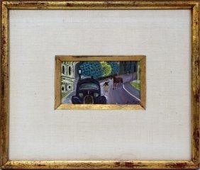 """HUGO, JEAN  GOUACHE,  1946, STREET SCENE"""""""