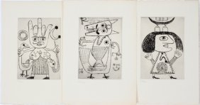 """VICTOR BRAUNER  ETCHINGS, 3, """"LILITH"""" & """"AZOTH"""""""