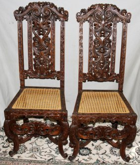 CARVED WALNUT, CANE SEAT CHAIRS  6, CIRCA 1900