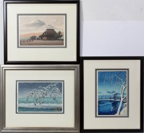 HASUI KAWASE COLOR WOODBLOCK PRINTS, THREE,