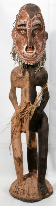 """CARVED & POLYCHROME WOOD AFRICAN FIGURE, H 53"""""""