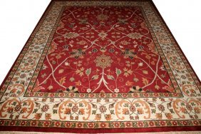 INDIAN HAND MADE ORIENTAL RUG, 9' X 12'