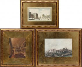 HAND COLORED ETCHINGS, 3 PCS.