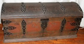 "OAK CAPTAIN'S TRUNK, 19TH C, H 23"", W 50"", D 22"