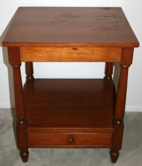 "WALNUT TABLE, CIRCA, 1930, H 28"", W 22"", D 18"""
