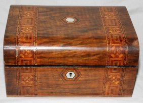 "MARQUETRY INLAID LETTER BOX H 5"", L 11"", D 9"""