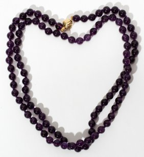AMETHYST BEAD NECKLACE, L 18 1/2""