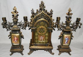 FRENCH BRONZE & PORCELAIN CLOCK AND GARNITURE,