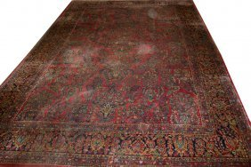 "SAROUK PERSIAN CARPET, ANTIQUE, 17' 0"" X 11' 7"""