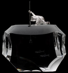 STEUBEN 'ARCTIC FISHERMAN' GLASS SCULPTURE