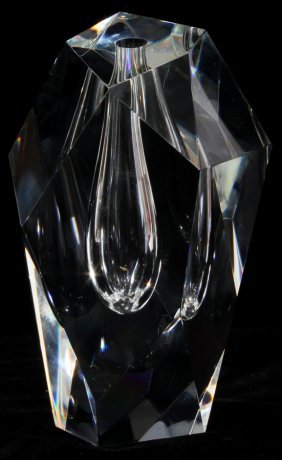 """STEUBEN GLASS PRISMATIC CUT VASE, H 6"""""""