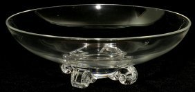 "STEUBEN GLASS LOW FOOTED BOWL, H 3 1/2"","