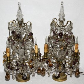 FRENCH CRYSTAL & GLASS THREE LIGHT CANDELABRA