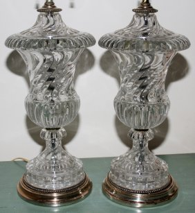 BACCARAT CRYSTAL COVERED URNS MOUNTED AS LAMPS