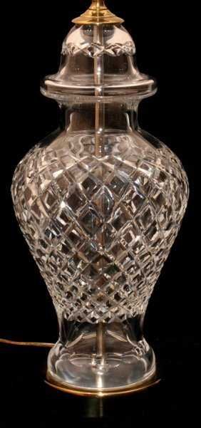 "WATERFORD CRYSTAL LAMP, H 13"", 27"" OVERALL"