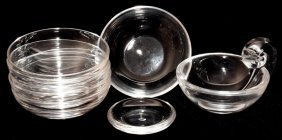 "STEUBEN GLASS DISHES, EIGHT, DIA 3"" - 5"""