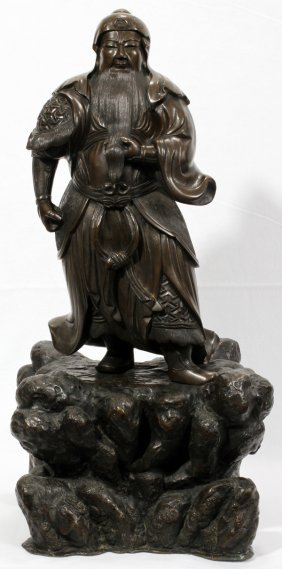 "BRONZE SCULPTURE OF A JAPANESE SAMURAI, 22"" H"