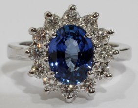 2.69CT NATURAL SAPPHIRE & 1.00CT DIAMOND RING,