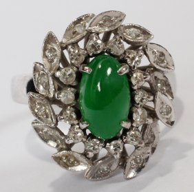 14KT WHITE GOLD, BURMESE JADE & DIAMOND RING