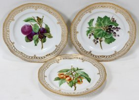 ROYAL COPENHAGEN 'FLORA DANICA' PLATES, THREE,