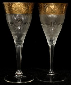 MOSER 'SPLENDID (GOLD)' GLASS WATER GOBLETS,