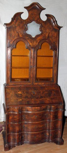 DUTCH BURL WALNUT SECRETARY DESK, CIRCA 1800