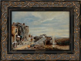 ATTRIBUTED TO OSWALD ACHENBACH  OIL ON CANVAS