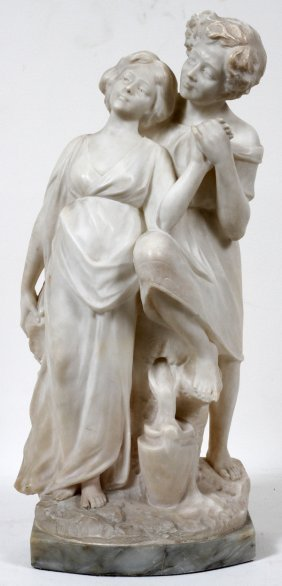 "ITALIAN CARVED MARBLE SCULPTURE, C. 1900 H 20"","