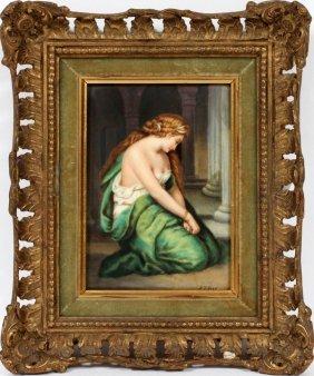 A. J. Ives German Hand Painted Porcelain Plaque