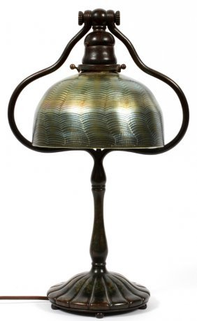 L. C. TIFFANY DAMASCENE FAVRILE GLASS & BRONZE LAMP