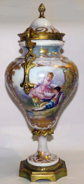Sevres Hand Painted Porcelain & Bronze Covered Urn