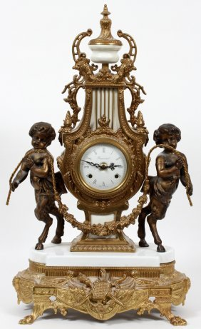 Imperial French Style Gilt Metal Mantle Clock