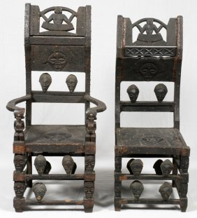African Chokwe Carved Wood Throne Chairs Two