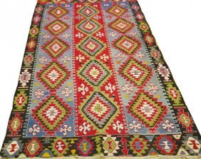 Turkish Hand Woven Kelim Wool Rug