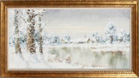 Oil On Canvas Winter Scene C1975