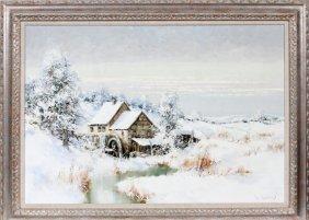 Willi Bauer Oil On Canvas Snow Scene