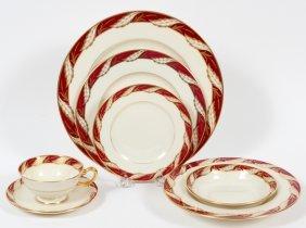 Lenox Bellevue Maroon Porcelain Service 73 Pieces