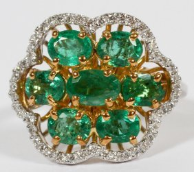 2.50ct Natural Emerald & .52ct Diamond Ring
