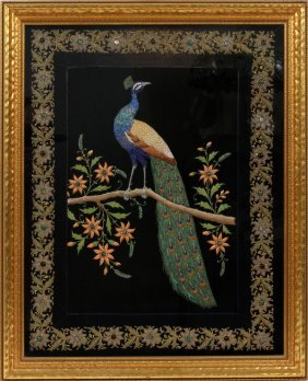 Hand Embroidered Textile Of Peacock