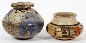 Hopi Indian & Japanese Raku Pottery Pots