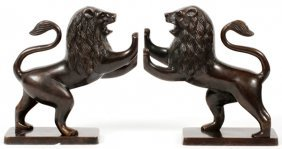 Patinated Metal Lion Bookends Pair