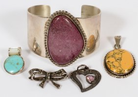 Sterling Cuff Bracelet + Sterling Brooches Etc