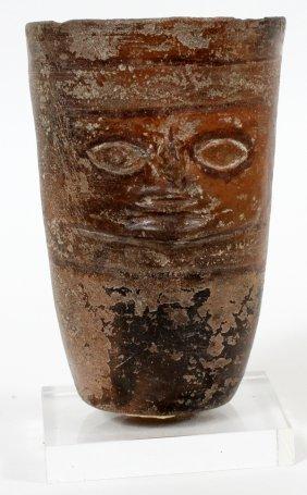 Pre-columbian Terracotta Face Figure Vessel