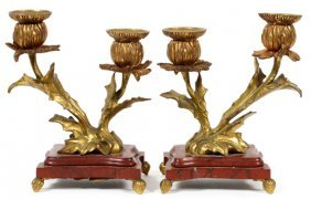 French Bronze & Rouge Marble Two-light Candelabra