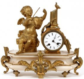 French Gilt Bronze & Onyx Figural Clock Late 19thc.