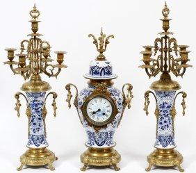 Porcelain & Brass Mantel Clock & Candelabra