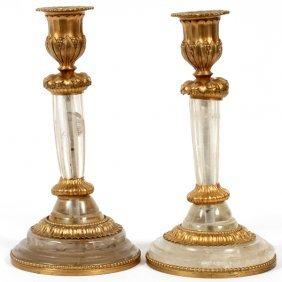 French Rock Crystal & Gilt Bronze Candlesticks