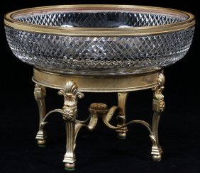 French Bronze & Crystal Compote