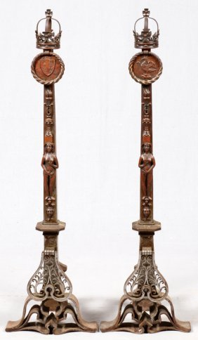 European Iron Figural Andirons, Pair