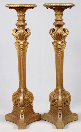 French Hand-carved & Gilt Wood Pedestals 19th C.